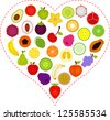 A Vector illustration of Fruit icons inside a Heart - stock vector