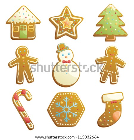 A vector illustration of gingerbread cookies icons - stock vector