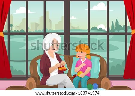 A vector illustration of grandma teaching her granddaughter knitting - stock vector
