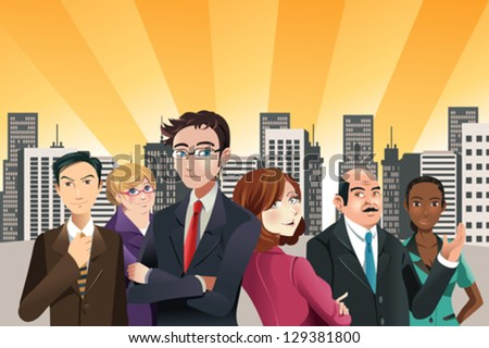 A vector illustration of group of confident business people with city buildings in the background - stock vector