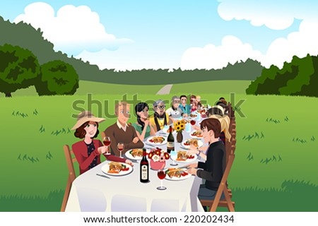 A vector illustration of group of people eating in a farm table - stock vector