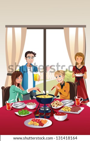 A vector illustration of group of teenager having fondue party - stock vector