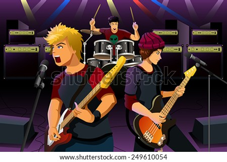 A vector illustration of group of teenagers in a rock band - stock vector