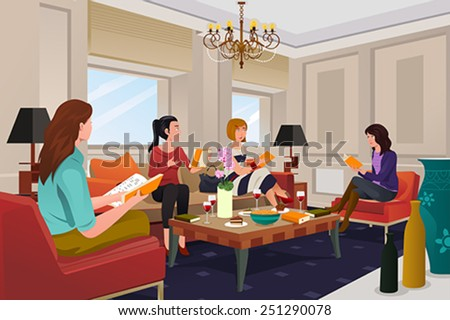 A vector illustration of  group of women in a book club meeting - stock vector