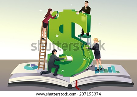 A vector illustration of group of young businessman solving puzzle for a teamwork concept - stock vector