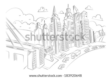 A vector illustration of hand drawing of city life - stock vector