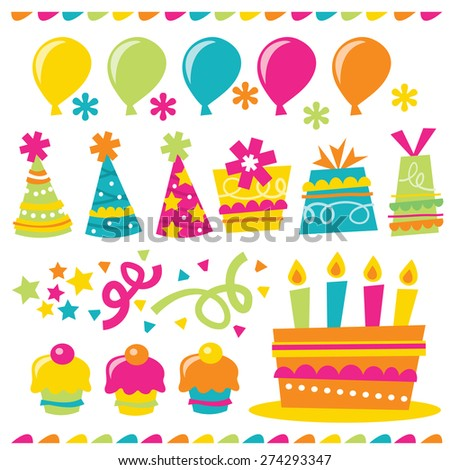A vector illustration of happy and whimsical birthday party related design elements.