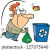 A vector illustration of happy cartoon man putting his recycling in a bin - stock vector