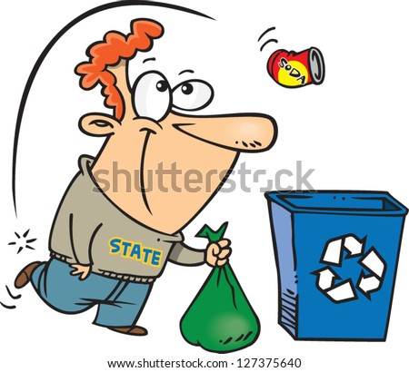A vector illustration of happy cartoon man putting his recycling in a bin