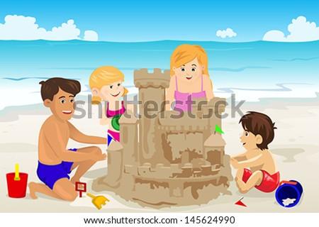 A vector illustration of happy family building sand castle on beach - stock vector