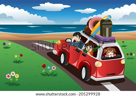A vector illustration of happy family going on a beach vacation together