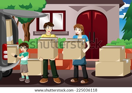 A vector illustration of happy family moving house and taking boxes into a car - stock vector