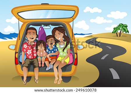 A vector illustration of happy family on a road trip  - stock vector