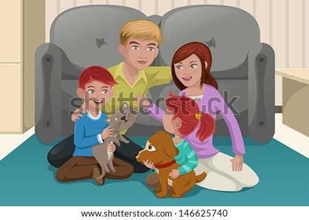 A vector illustration of happy family playing together with their pets - stock vector