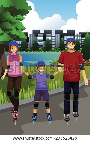 A vector illustration of happy family rollerblading in a park together - stock vector