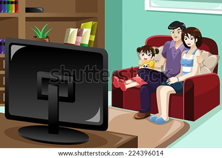 A vector illustration of happy family watching television together - stock vector