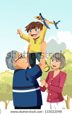 A vector illustration of happy grandparents playing with their grandson - stock vector