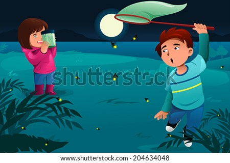 A vector illustration of happy kids catching fireflies and put them in a jar - stock vector