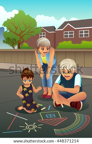 A vector illustration of happy kids drawing with chalk on the sidewalk