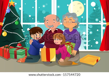 A vector illustration of  happy kids opening Christmas present from grandparents - stock vector