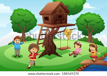 A vector illustration of happy kids playing around tree house - stock vector
