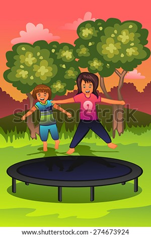 A vector illustration of happy kids playing on a trampoline - stock vector