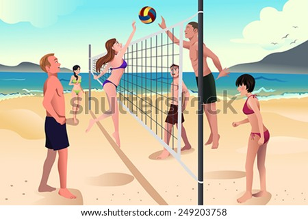 A vector illustration of happy young people playing beach volleyball - stock vector