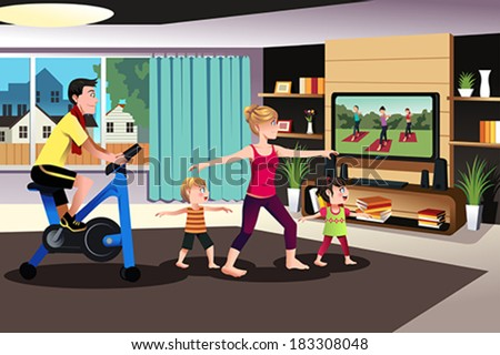 A vector illustration of healthy family exercising together indoor at home - stock vector