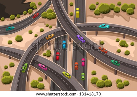 A vector illustration of highway viewed from above - stock vector