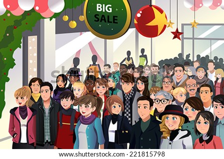 A vector illustration of Holiday shopping sale scene - stock vector