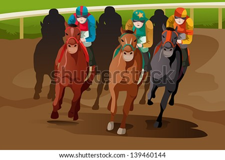 A vector illustration of horse racing in a track - stock vector