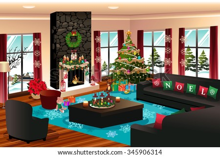 A vector illustration of house with Christmas decoration - stock vector