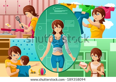 A vector illustration of housewife handling multiple tasks, portrayed as half human half machine - stock vector