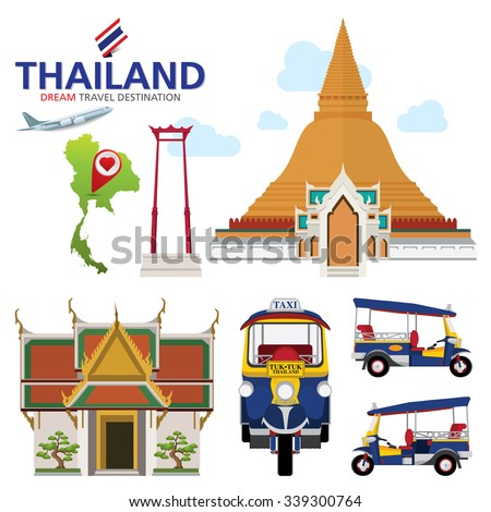 A vector illustration of Info graphic elements for traveling to Thailand, concept Travel to Thailand. Info graphic Element / icon / Symbol , Vector Design - stock vector