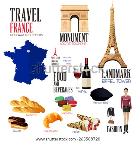 A vector illustration of Infographic elements for traveling to France - stock vector