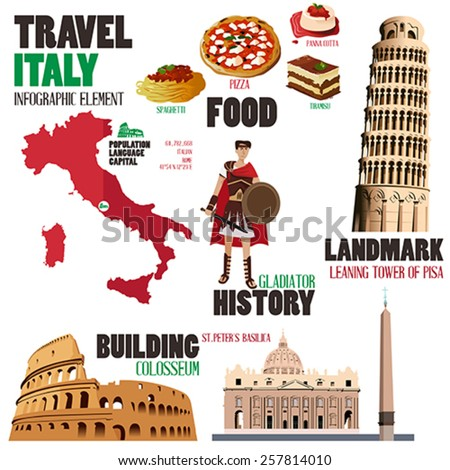 A vector illustration of Infographic elements for traveling to Italy - stock vector