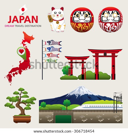 A vector illustration of Infographic elements for traveling to Japan, concept Travel to Japan / Infographic Element / icon / Symbol , Vector Design