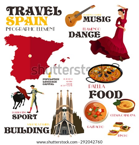 A vector illustration of Infographic elements for traveling to Spain - stock vector