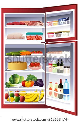 A vector illustration of inside of a refrigerator - stock vector