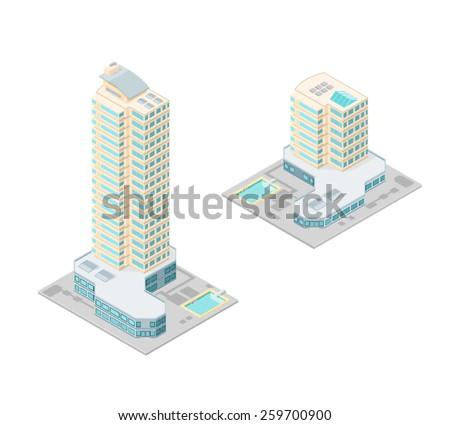 A vector illustration of isometric hotels with swimming pool. Large Isometric hotel. Isometric Hotel or apartments. - stock vector