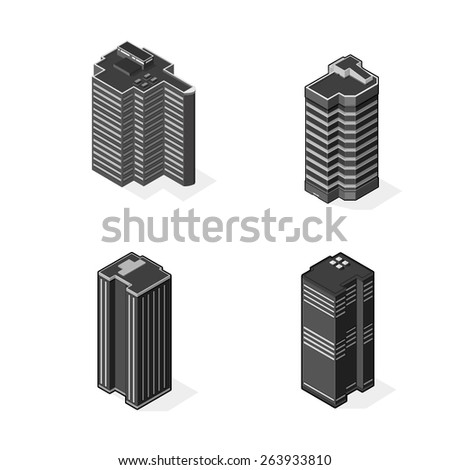 A vector illustration of isometric modern skyscrapers. skyscraper office buildings. Isometric business or financial buildings. - stock vector