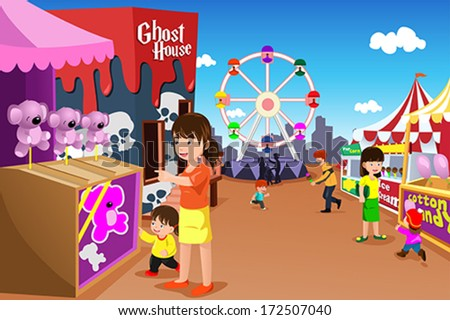 A vector illustration of kids and their parent having fun in an amusement park - stock vector