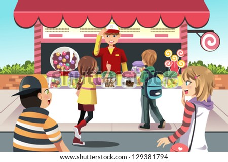 A vector illustration of kids buying candy at a candy shop - stock vector