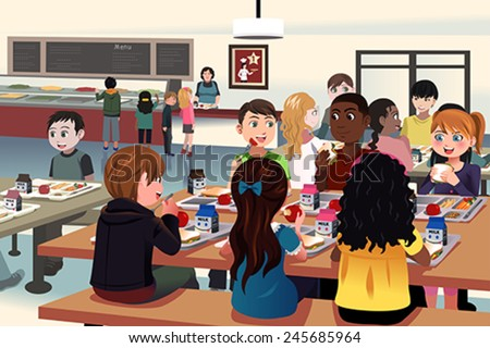 A vector illustration of kids eating at the school cafeteria - stock vector