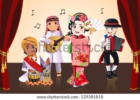 A vector illustration of kids from different ethnics performing in a stage - stock vector