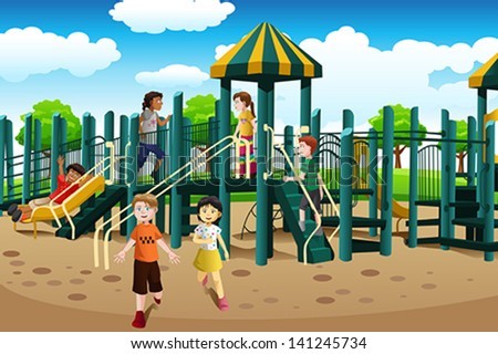 A vector illustration of kids from different ethnics playing together in the playground - stock vector