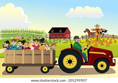 A vector illustration of kids going on a hayride in a farm with corn fields in the background