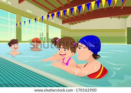 A vector illustration of kids having a swimming lesson in indoor pool - stock vector