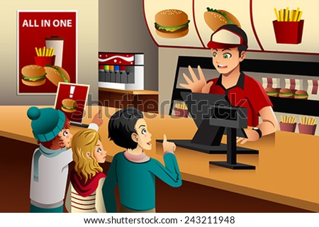 A vector illustration of kids ordering food at a fast food restaurant - stock vector