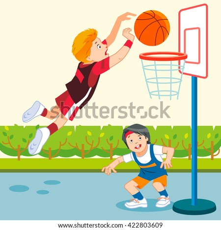 Vector Illustration Kids Playing Basketball Playground ...